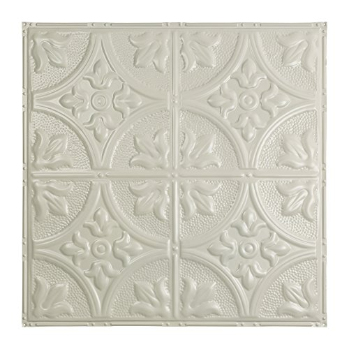 Acp Antique - Great Lakes Tin Jamestown Antique White Nail-Up Ceiling Tiles - Package of Five 2ft x 2ft Panels - Choose from 11 Styles - Perfect for DIY and Home Renovation Projects - Easy to Install