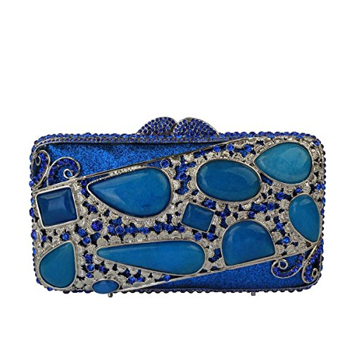 Soirée Blue Main Banquet De Embrayage Pack à De Sac Diamant Pour Femmes PO8qxO