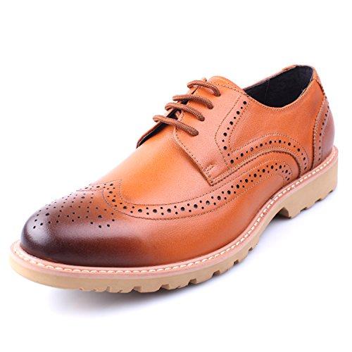 Santimon Mens Leather Wingtip Lace-up Semi Brogue Business Shoes Khaki 7l04b79N