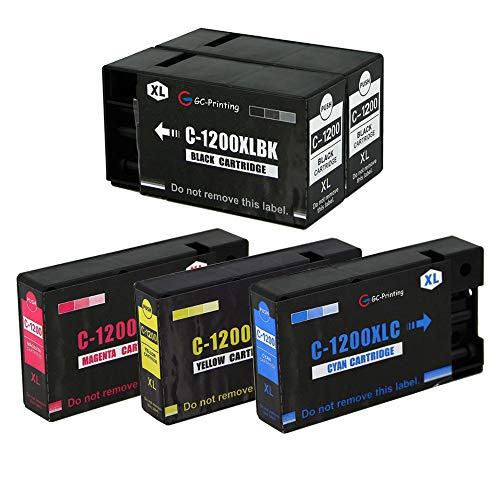 GC-Printing 5 Pack PGI-1200XL PGI-1200 XL Compatible Ink Cartridge Replacement for MAXIFY MB2720 MB2320 MB2020 MB2050 MB2350 MB2120 Printer (2 Black 1 Cyan 1 Magenta 1 - Cart Black 5 Pgi