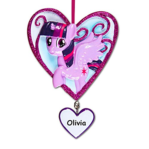 Personalized Officially Licensed My Little Pony Character Twilight Sparkle in Glitter Heart Hanging Christmas Ornament with Your Custom Name -