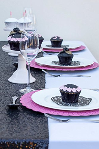 LQIAO Glitter 18PCS 14x108in-Sequin Table Runner-Sparkly Wedding Party Dining Kitchen Table Linens DIY, Black by LQIAO