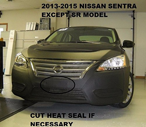 Lebra 2 piece Front End Cover Black - Car Mask Bra - Fits - 2013-2015 Nissan Sentra (except SR)