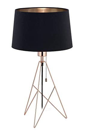 EGLO Lámpara de Mesa CAMPORALE Cobre y Negro 56 cm Luz Foco ...