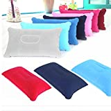 Travel Pillow Inflatable Pillow Air Cushion Camping outdoor activities Beach Car Head Rest Support (Light blue)