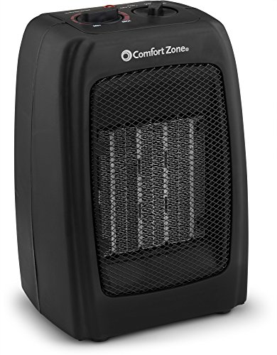 Ceramic Space Heater, Personal Warming Fan with Adjustable Thermostat, Carrying Handle & Safety Features - by Comfort Zone (Black)