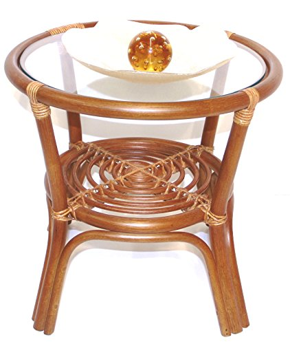 Round Coffee Table w/ Glass Top Natural Rattan Wicker ECO Handmade, Cognac (Living Room Rattan End Table)
