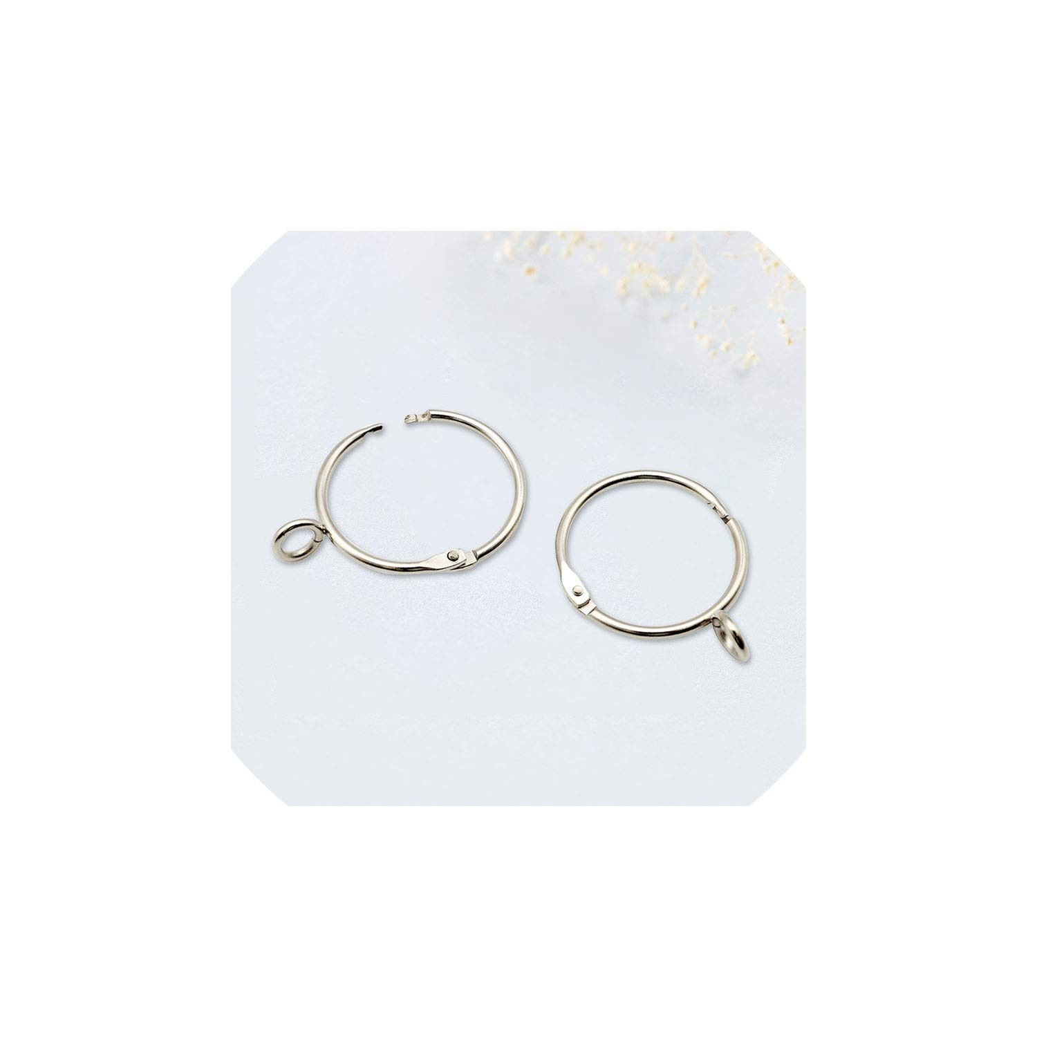 YOUNG-STYLE Metal Silver Color Open Curtain Ring Hooks Clips Circle for Opening Ring Curtain,Diameter 50 mm,80 Pieces