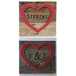 Large custom red reclaimed wooden heart sign with branded initials or name. A special and unique gift for weddings, 5 Year Anniversary gifts, new homes and more. Two day shipping for $11.19!