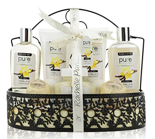 PURE Spa Gift Basket for Men & Women. Gift with Lush Bath Bombs, Bubble Bath & Perfume Body Lotion Mens Gift Set! Natural Spa Basket Gift for Husband, Father, Boyfriend ()