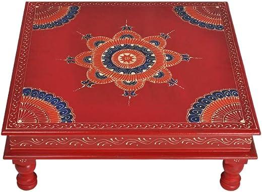 Lalhaveli Jaipuri Handpainted Work Design Wooden Chowki Bajot 18 X 18 x 6 Inches