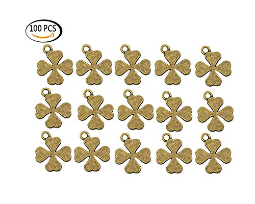 Youkwer 100Pcs 15mmx19mm Four Leaf Clover Lucky Charms Pendants for DIY Crafting and Necklace Jewelry Making Antique Bronze(Four Leaf Clover)