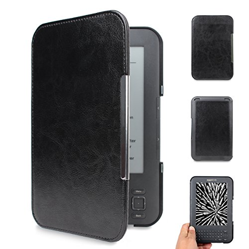 WALNEW Amazon Kindle Keyboard (kindle 3/D00901) Case Cover -- Ultra Lightweight PU Leather  Cover for Amazon kindle Keyboard(3rd Generation)Tablet with 6 Display and Keyboard (Black) (Best Lighted Cover For Kindle Touch)