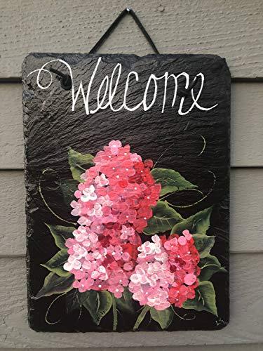 MarthaFox Hydrangeas Wood Welcome Sign Summer Door Decor Outdoor Summer Decor Hydrangeas Spring Door Hanger Front Door Decoration Door Sign Wood Sign
