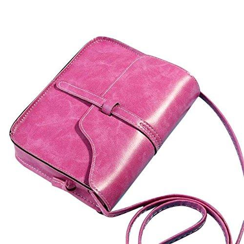 Shoulder Messenger Bag, PLOT Vintage Purse Bag Leather Cross Body Shoulder Messenger Bag Hot Pink