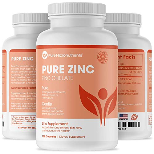 Pure Zinc Supplement, Natural Zinc Glycinate Supplements, (Chelated) 25mg, 120 – Pure Micronutrients