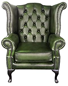 Elegant Chesterfield Antique Green Genuine Leather Queen Anne Armchair