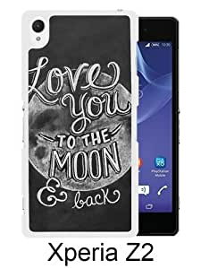 Lovely And Unique Designed Case For Sony Xperia Z2 With I Love You To The Moon And Back White Phone Case