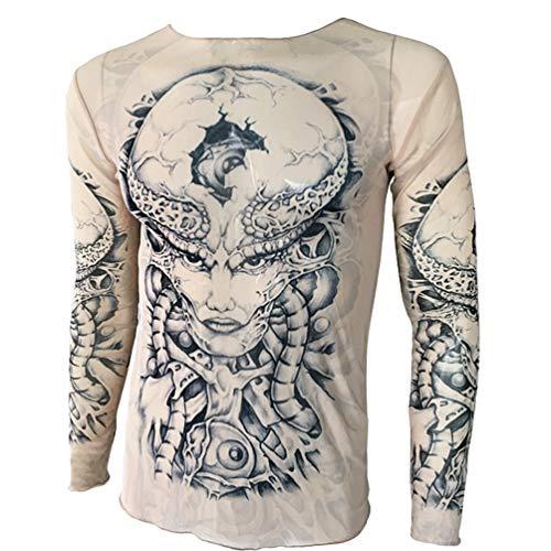shirts Top T Faux T Tshirt Wanyangg Shirt Longues Tattoo Manches Clothing Respirant Tee Imprimer Tatoo Homme 81gs Tatouage qwZZUt