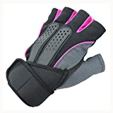 Half Finger Fitness Gloves - SODIAL(R)Men woman Sports Gym Glove for Fitness Training Exercise Body Building Workout Weight Lifting Gloves Half Finger, Pink M