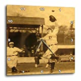 3dRose dpp_16246_2 Vintage Detroit Tigers Making The Catch Black 1-Wall Clock, 13 by 13-Inch