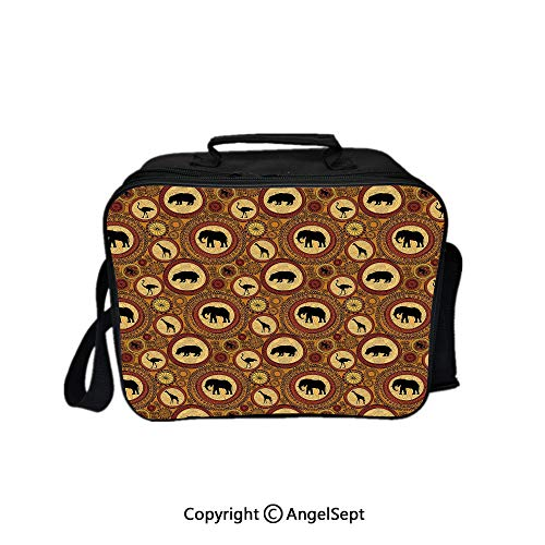 Compartment Lunch Bag for Men, Women,African Ethnic Animals Elephant Camel Giraffe Lion Ethnic Graphic Print Decorative Ginger Cinnamon Black 8.3inch,Lunch Cooler Bag with Shoulder Strap
