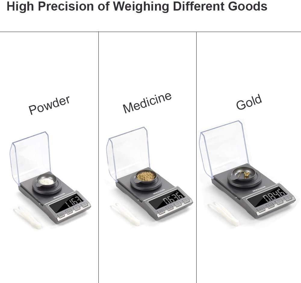 100 g x 0,001 g NEWACALOX b/áscula de joyer/ía port/átil con pinzas de calibraci/ón recargable de alta precisi/ón B/áscula digital de miligramo sartenes de pesaje y cable USB