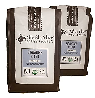 Charleston Coffee Roasters Organic Dark Roast Signature Blend 2 Lb Whole Bean (Pack of 2)
