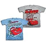 Disney Boys Cars Lightning McQueen Shirt - 2 Pack of Lightning McQueen Tees (Grey/Light Blue, 4T)