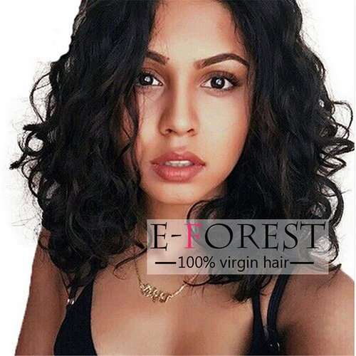 E-forest hair 7a Full Lace Human Hair Wigs Virgin Brazilian Lace Wig Wavy Full Lace Wigs with Baby Hair 130% Density(14