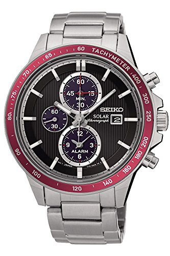Seiko Solar Chronograph SSC433 Black Dial Stainless Steel Men's Watch by Seiko Watches (Seiko Watches For Men Ssc)