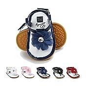 BENHERO Infant Baby Girls Flower Anti-Slip Rubber Sole Prewalker Toddler Sandals (11cm(0-6Months), 1974 Navy)