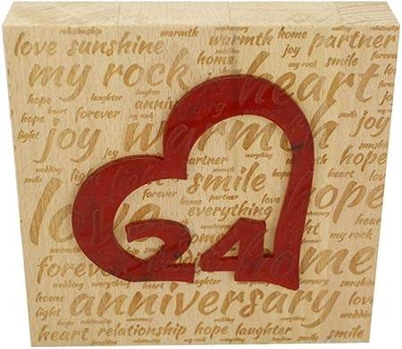 24 Anniversario Di Matrimonio.Blocco In Legno Di Faggio Per 24 Anniversario Di Matrimonio Con