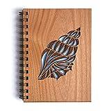 Conch Laser Cut Wood Journal (Notebook / Birthday Gift / 5th Anniversary / Gratitude Journal / Handmade)