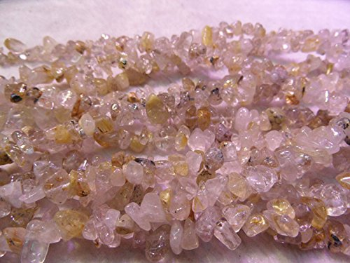 TheTasteJewelry 3 Strands Natural Gold Rutilated Quartz Chips 5-8mm Beads 18'' Jewelry Making Necklace (10k Gold Beads)