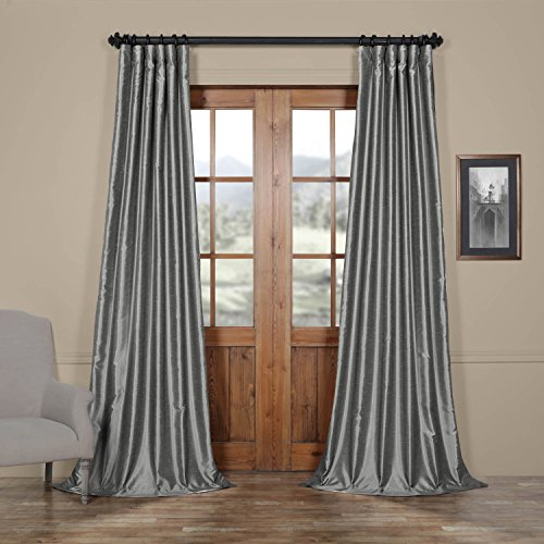 HPD HALF PRICE DRAPES Half Price Drapes PDCH-KBS7-120 Vintage Textured Faux Dupioni Silk Curtain, 50 x 120, Storm Grey