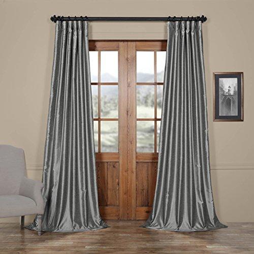 Half Price Drapes PDCH-KBS7-108 Vintage Textured Faux Dupioni Silk Curtain, 50 x 108,  Storm Grey