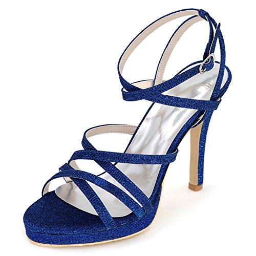 Scarpe Blue Appliques Bianco Donna E Toe Tacco Autunno Toe Sposa Scarpe 11cm Fibbia da Sera Elobaby da Comfort Peep 1Uwqd1g