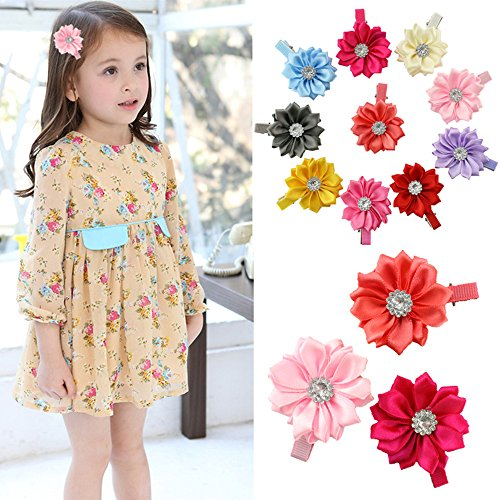 10pcs Toddlers Baby Girls Kids Teens Hair Bows Alligator Clips Flower Barrettes (Ribbon Flower with Rhintsone)