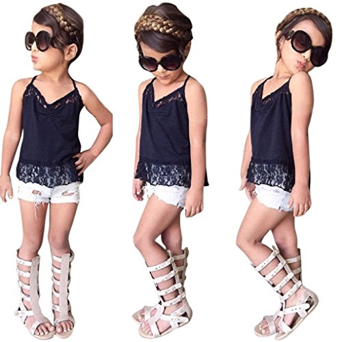 Old Navy Frog Costume 4t (AMA(TM) Toddler Kids Baby Girls Sleeveless Lace T-shirt +Demin Shorts Pants Outfits Clothes Set (4T, Navy))