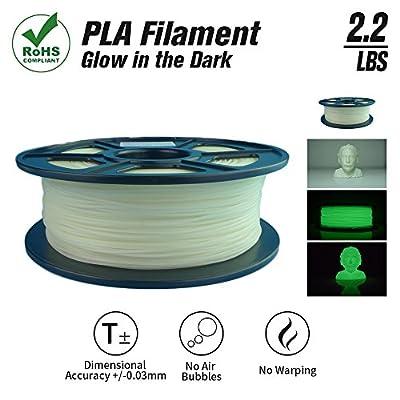 SunTop Glow in the Dark PLA Filament 1.75mm 3d printing Filament, 1 kg Spool, Dimensional Accuracy +/- 0.03 mm