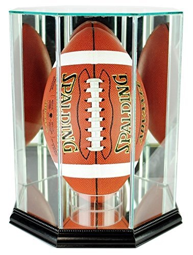 - Football Display Case - Upright with Glass Top and Octagon Black Base