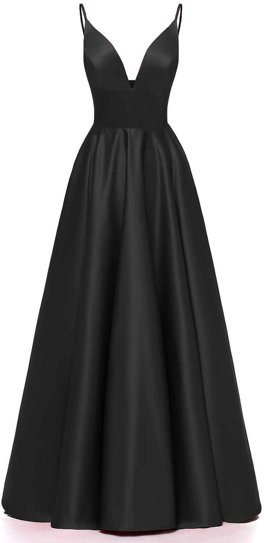 Black Ri Yun Women's Spaghetti Strap V Neck Prom Dresses Long 2019 Satin Aline Evening Formal Gown with Pockets