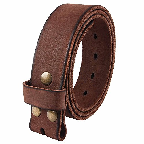 Soft Leather Buckle Belt (NPET Mens Leather Belt Full Grain 100% Leather Vintage Distressed Style Snap on Strap 1 1/2