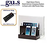 G.U.S. Multi-Device Charging Station Dock & Organizer - Multiple Finishes Available. For Laptops, Tablets, and Phones - Strong Build, High Gloss Cherry with 4-Port USB Power Strip