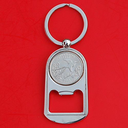 (US 2008 Oklahoma State Quarter BU Uncirculated Coin Silver Tone Key Chain Ring Bottle Opener NEW)