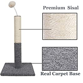 Dimaka Cat Scratching Carpet Post with Top Tease Toy Ball, Sisal Pole Post and Carpet Covered Base, Vertical Scratch Full Stretch
