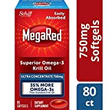 750mg Omega-3 Krill Oil Supplement, MegaRed Ultra Strength Softgels (80 Count in a Box), Has No Fishy Aftertaste and Has EPA & DHA Plus Antioxidant Astaxanthin