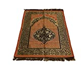 Sparkle Trade Luxury Islamic Prayer Rug Turkish Ottoman Stamp Sajadah Thin Prayer Rug Muslim Gift Eid Ramadan (Orange)