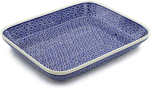 Polish Pottery 13¼-inch Rectangular Baker (Daisy Dreams Theme) + Certificate of Authenticity